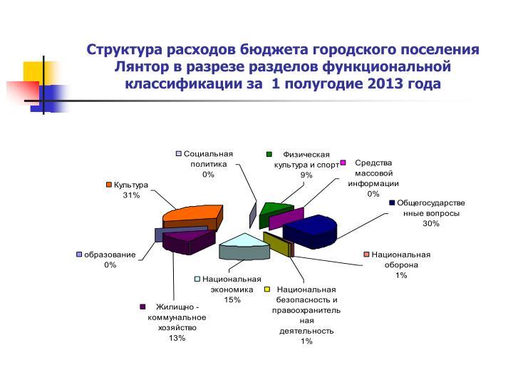 Структура расходов бюджета городского поселения Лянтор в разрезе разделов функциональной классификации