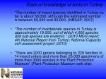 state of knowledge of biota in turkey1