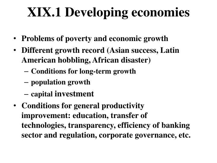Xix 1 developing economies