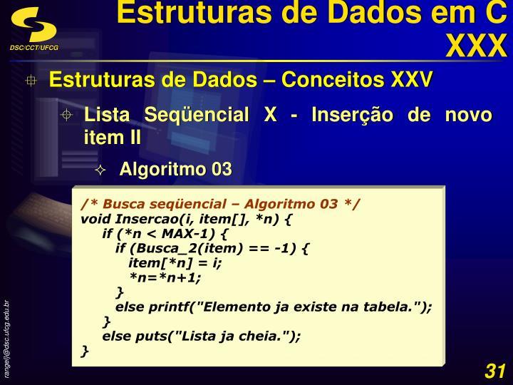 Estruturas de Dados em C XXX