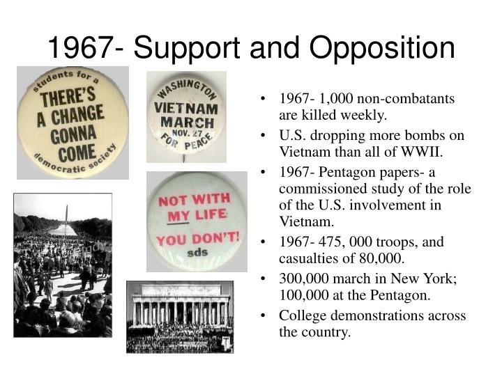 1967- Support and Opposition