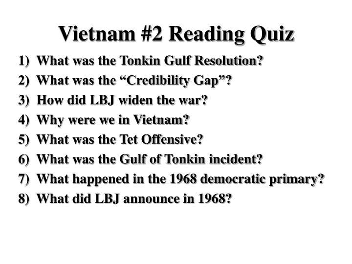 Vietnam 2 reading quiz