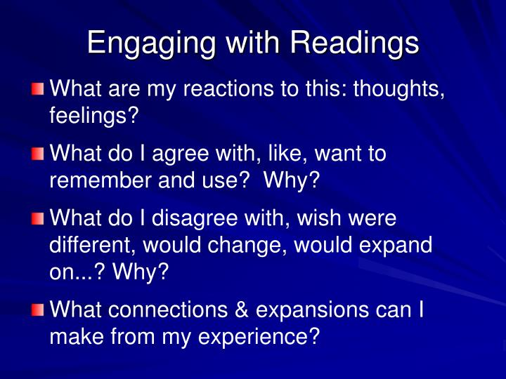 Engaging with Readings