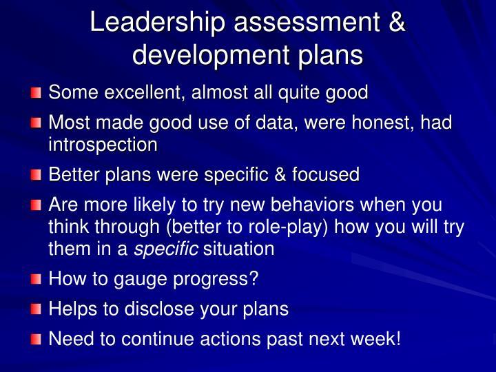 Leadership assessment development plans
