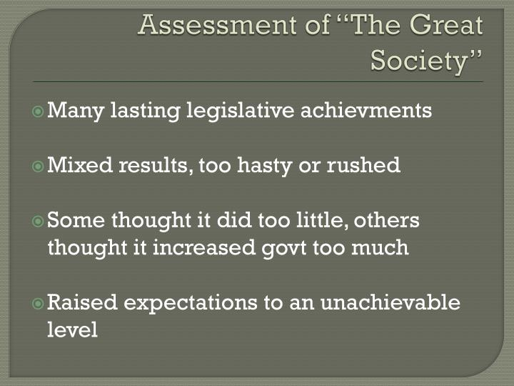 "Assessment of ""The Great Society"""