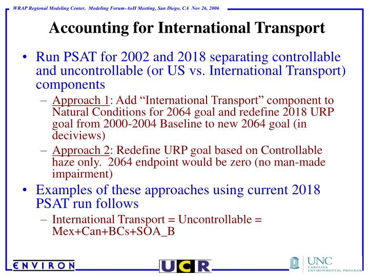 Accounting for International Transport