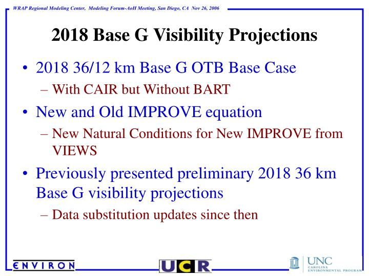 2018 Base G Visibility Projections