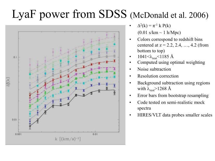 LyaF power from SDSS