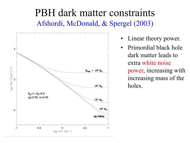 PBH dark matter constraints
