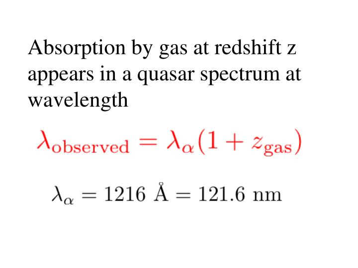 Absorption by gas at redshift z appears in a quasar spectrum at wavelength