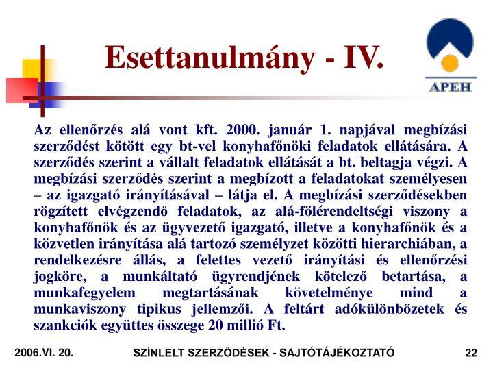 Esettanulmány - IV.