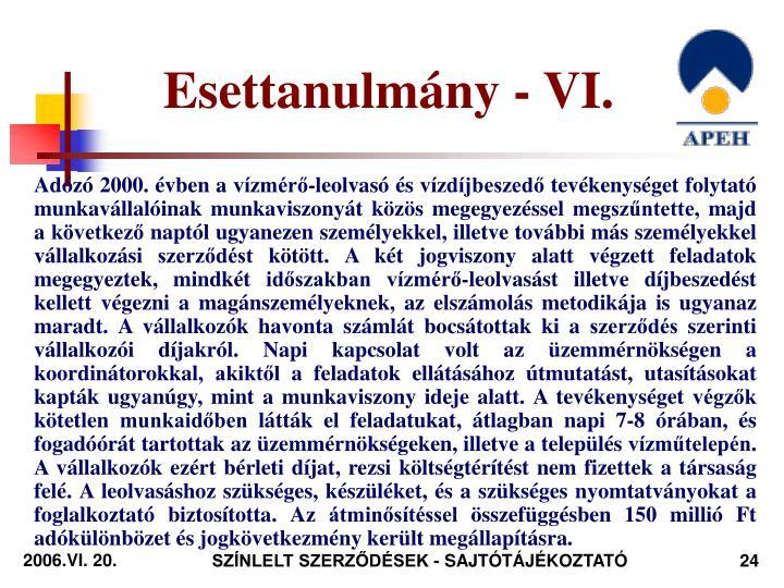 Esettanulmány - VI.