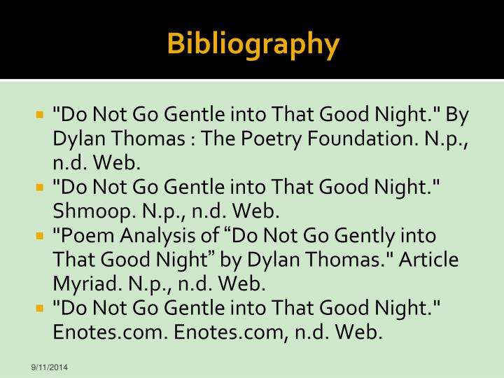 an overview of the poem do not go gentle into that good night by dylan thomas