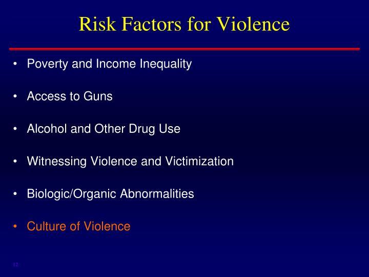 Risk Factors for Violence