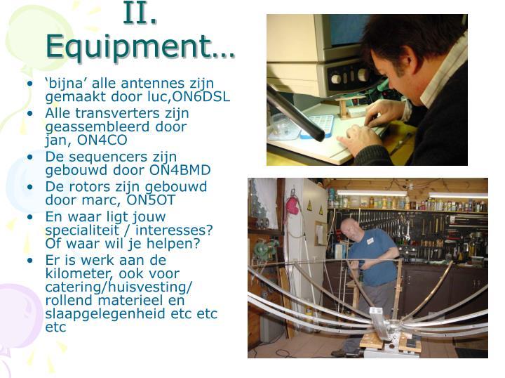 II. Equipment…