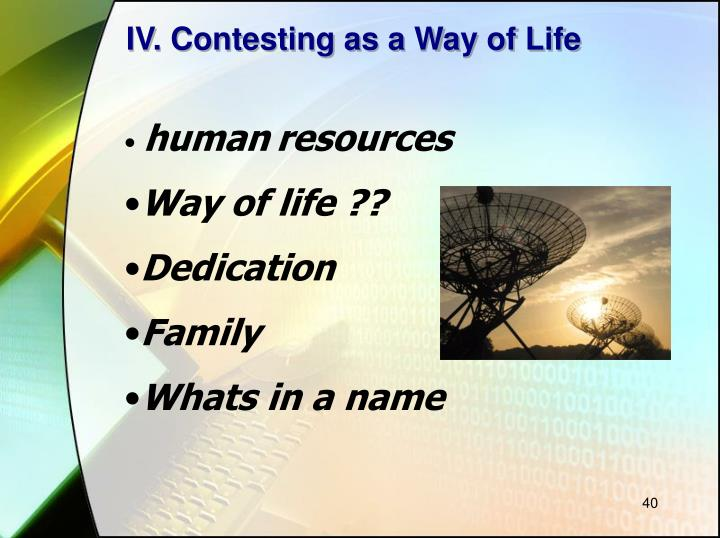 IV. Contesting as a Way of Life