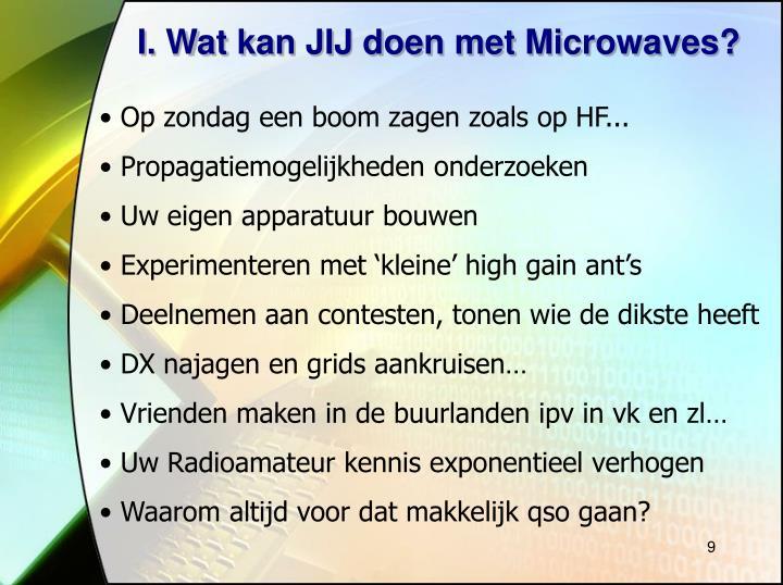 I. Wat kan JIJ doen met Microwaves?