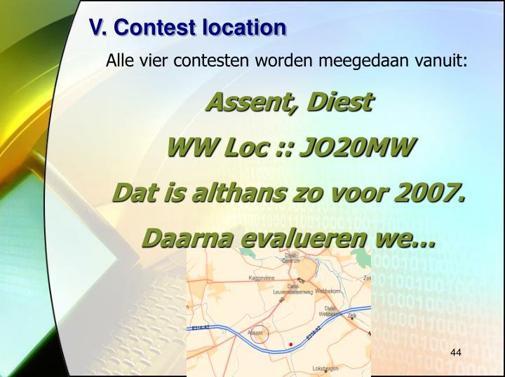 V. Contest location