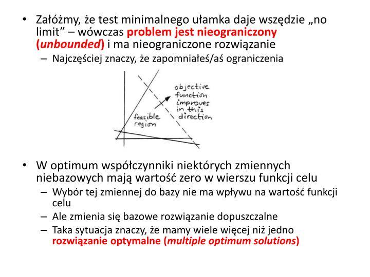 """Załóżmy, że test minimalnego ułamka daje wszędzie """"no limit"""" – wówczas"""