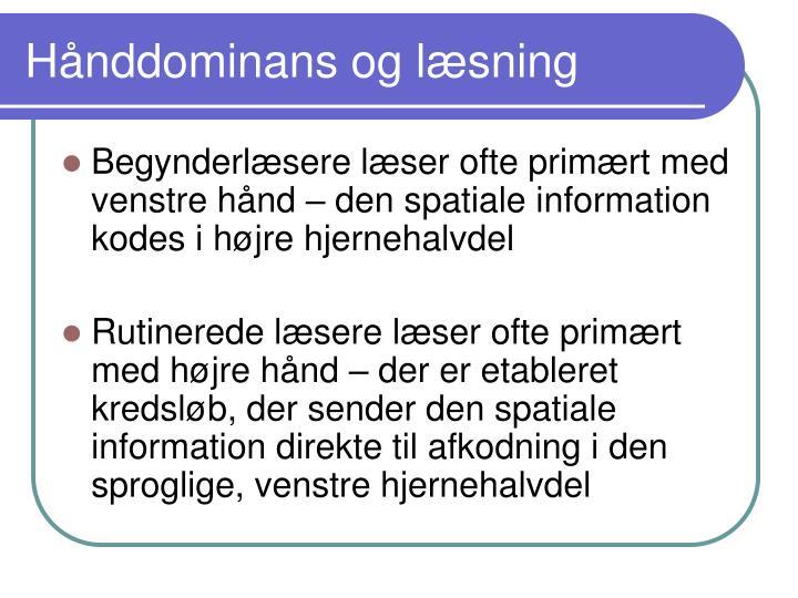 Hånddominans og læsning