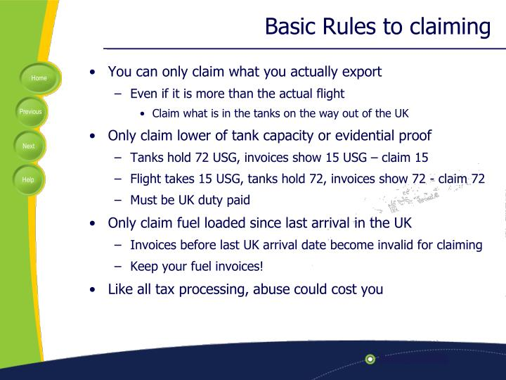 Basic Rules to claiming