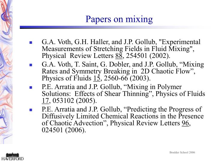 Papers on mixing