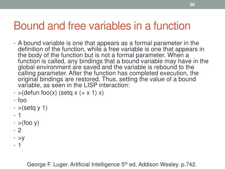 Bound and free variables in a function