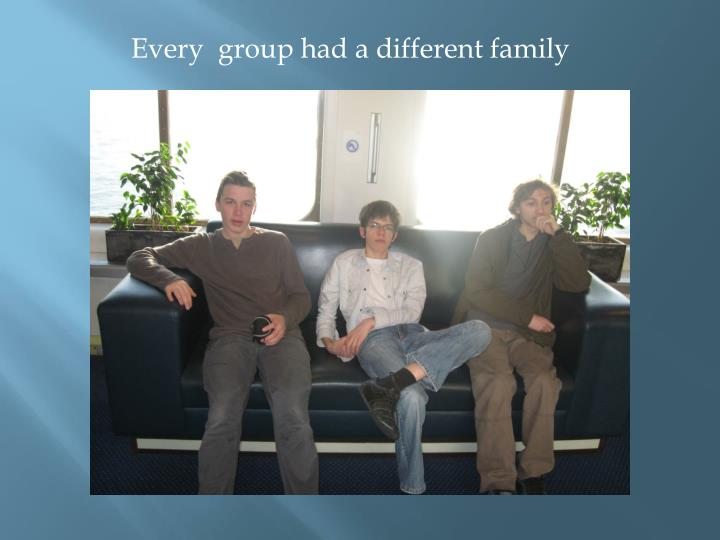Every  group had a different family