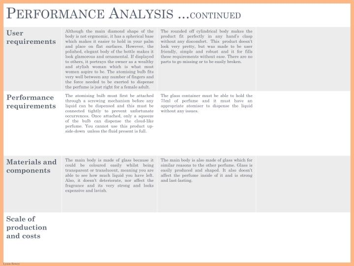 Performance analysis continued