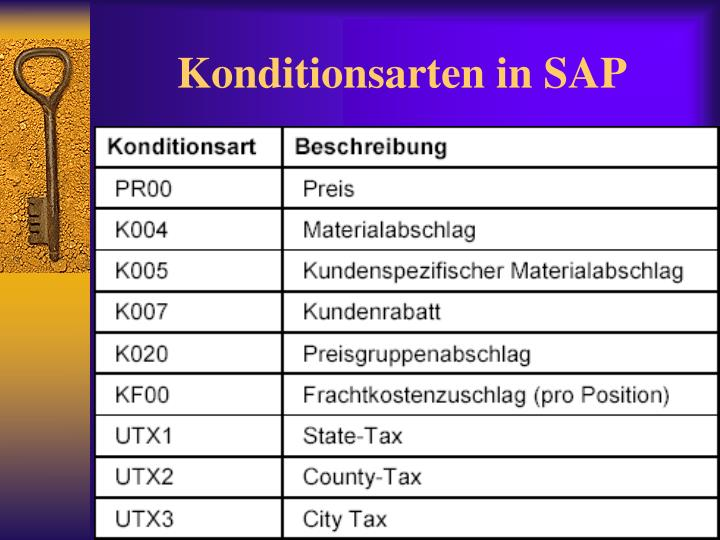 Konditionsarten in SAP