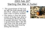 2003 feb 26 th starting the war in sudan