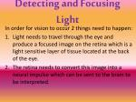 detecting and focusing light