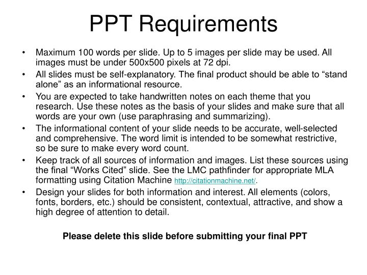 Ppt requirements