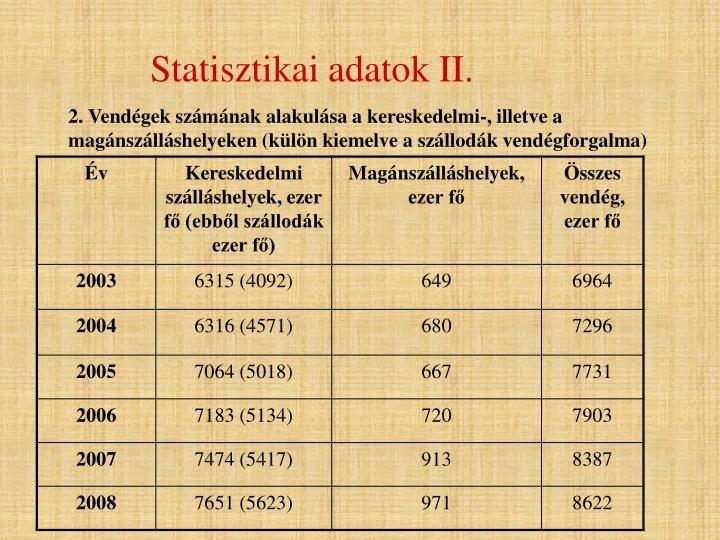 Statisztikai adatok II.