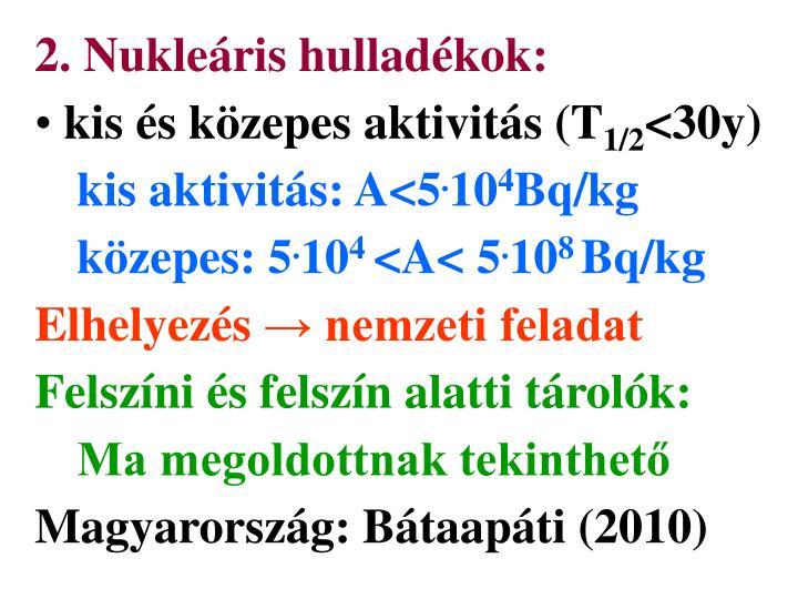 2. Nukleáris hulladékok: