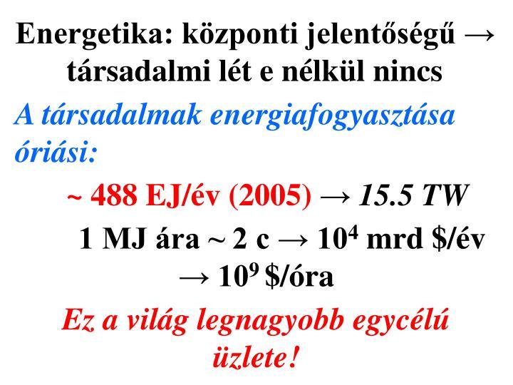 Energetika: központi jelentőségű