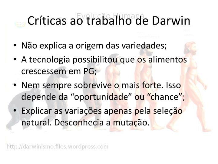 Críticas ao trabalho de Darwin
