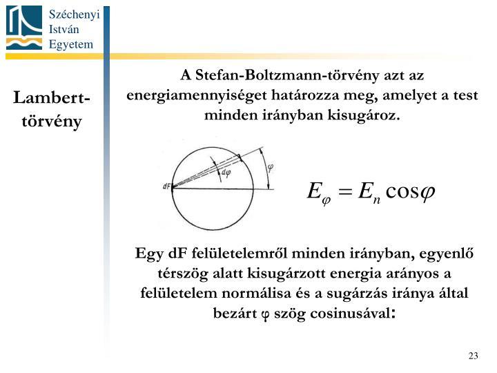 A Stefan-Boltzmann-törvény azt az energiamennyiséget határozza meg, amelyet a test minden irányban kisugároz