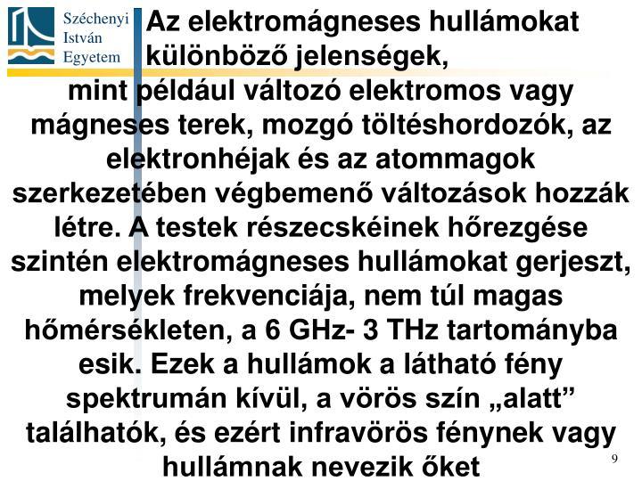 Az elektromágneses hullámokat különböző jelenségek,
