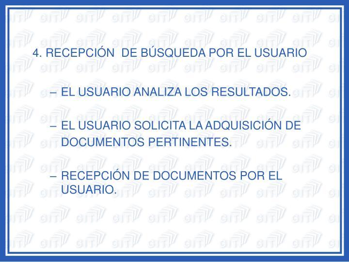 4. RECEPCIÓN  DE BÚSQUEDA POR EL USUARIO