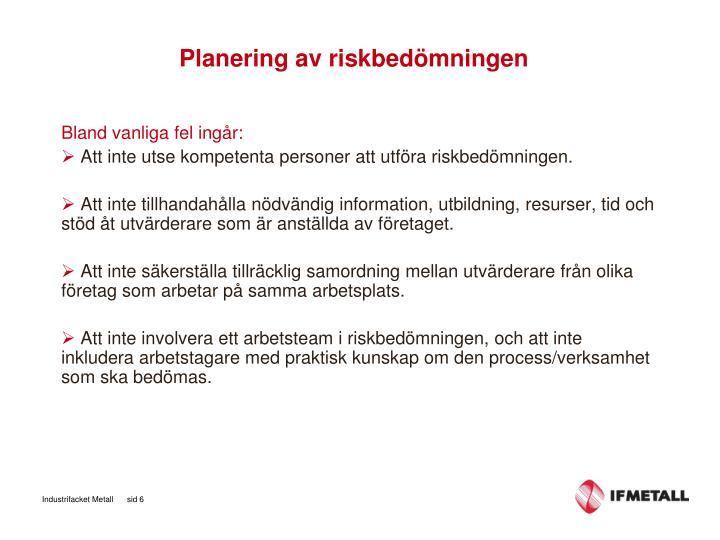Planering av riskbedömningen