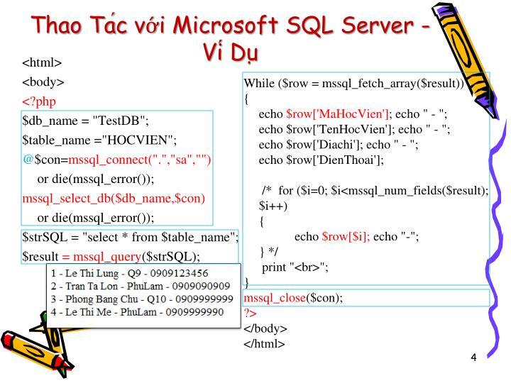 Thao Tác với Microsoft SQL Server - Ví Dụ