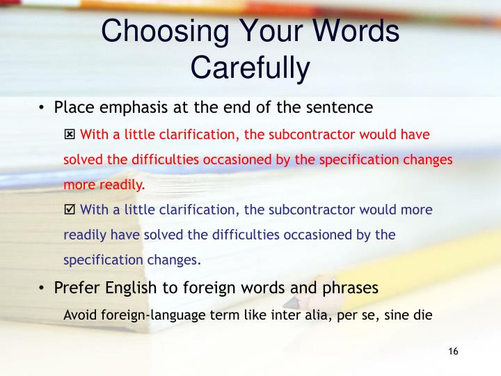 Choosing Your Words Carefully