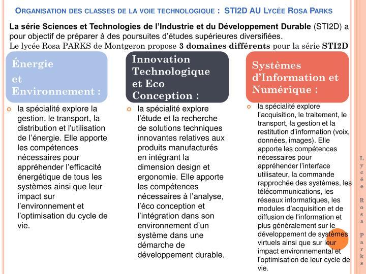 Organisation des classes de la voie technologique :  STI2D AU Lycée Rosa