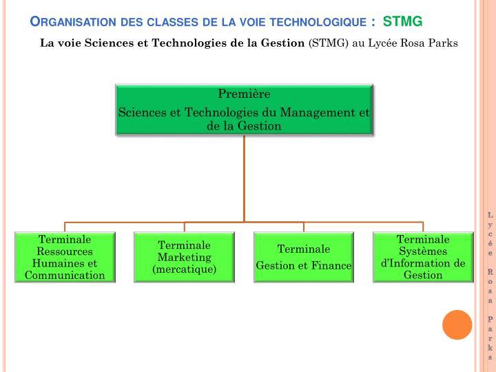 Organisation des classes de la voie technologique :