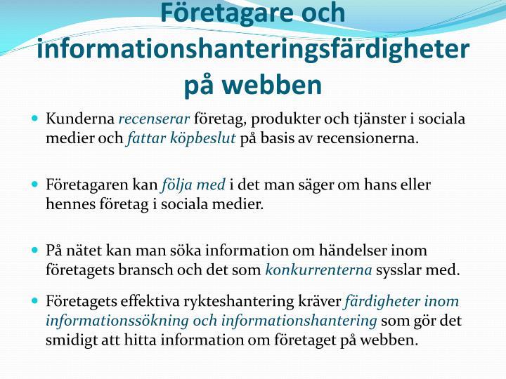 Företagare och informationshanteringsfärdigheter på webben