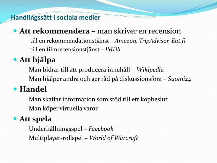 Handlingssätt i sociala medier