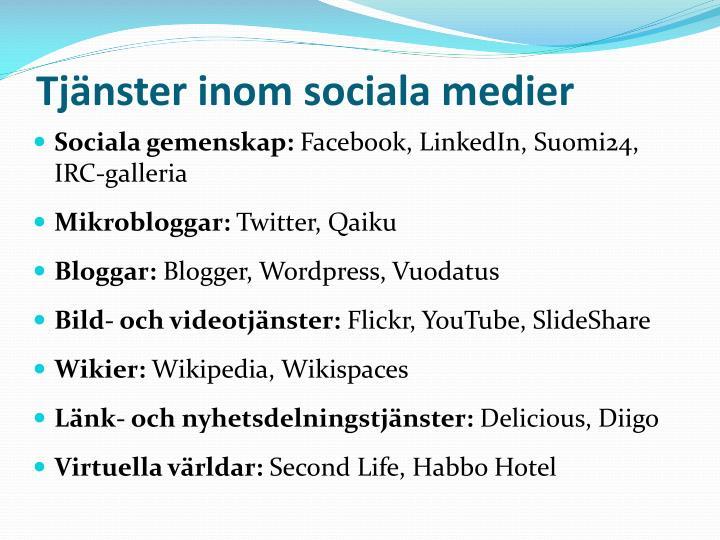 Tjänster inom sociala medier