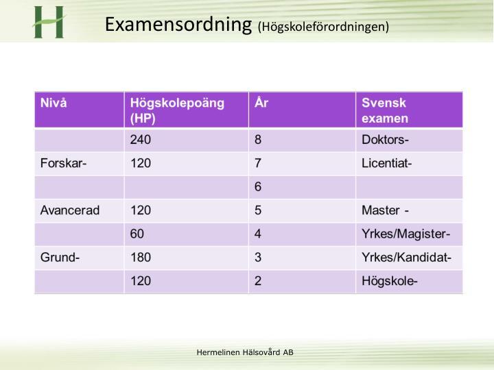 Examensordning