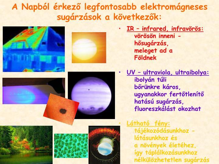 A Napból érkező legfontosabb elektromágneses sugárzások a következők: